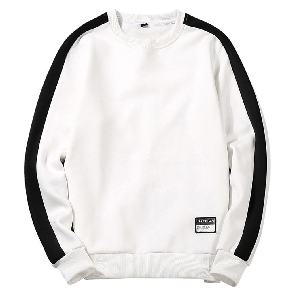 Colores en contraste, para hombre Jersey manga larga o-Cuello Casual Patchwork sudaderas en blanco y negro de la parte de arriba de estilo Hip Hop Polerones # Y3