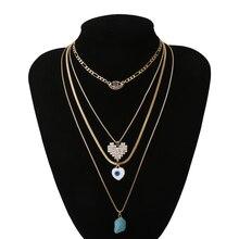 Luokey multicouche rétro bohème pierre colliers pour femmes mode cristal coeur mauvais œil pendentifs colliers Boho tour de cou bijoux