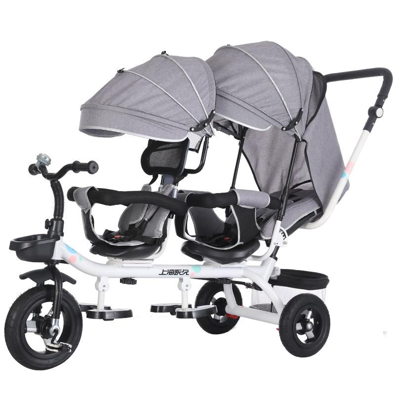 Double Twin Rotatable tricycle Baby Strollers Universal Travel Baby Pram Children Double Seat Crriag