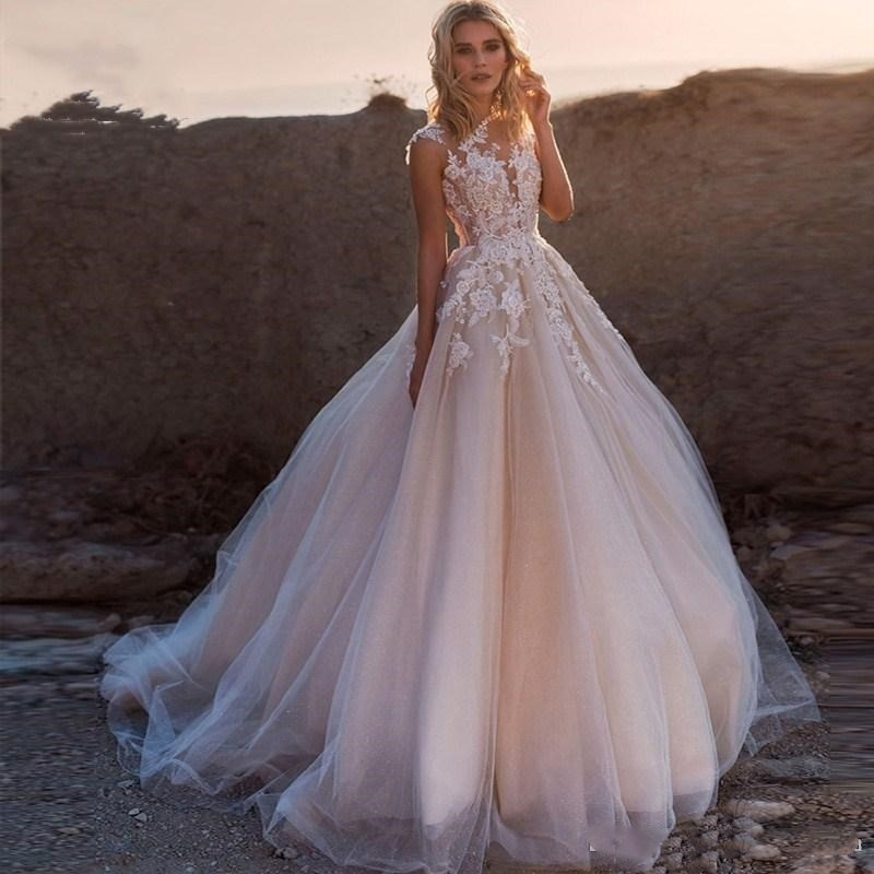 Promo Designer Bohemian Blush Pink Cheap Plus Size A Line Wedding Dresses Lace Appliqued  Dress Bridal Gowns Vestidos