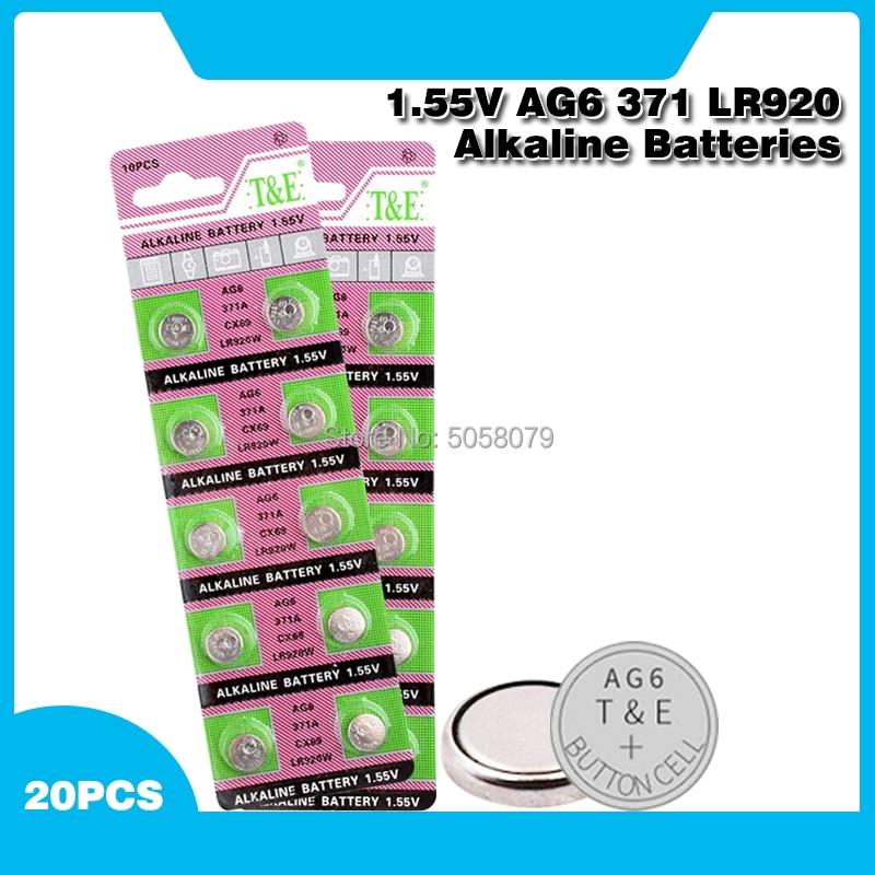 20 piezas 1,55 V AG6 371 SR920SW LR920 SR927 171 370 L921 LR69 SR920 pilas de botón para relojes de juguete remoto móvil de la batería,