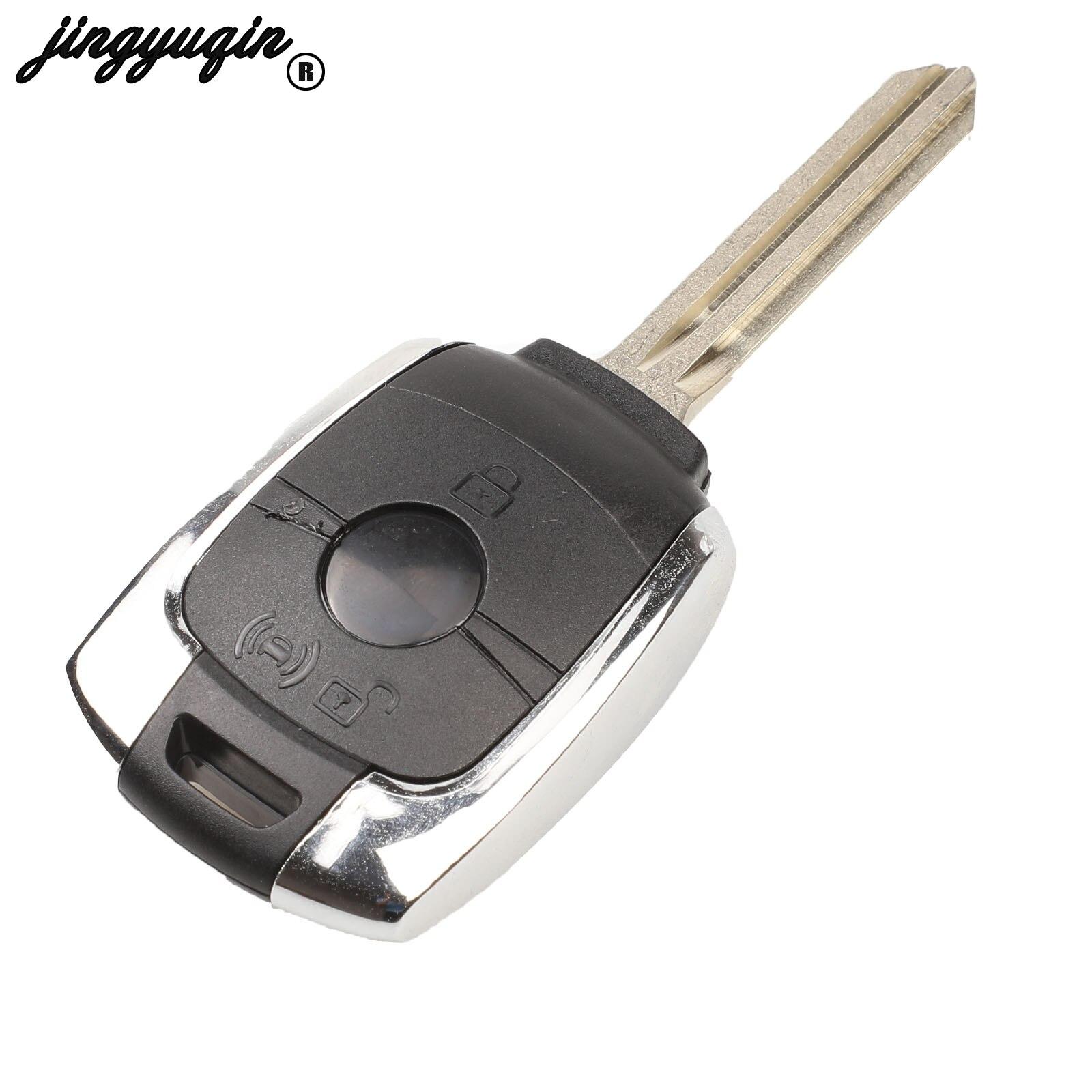 Jingyuqin 2 boutons de remplacement à distance clé coque étui Fob pour SsangYong Actyon Kyron Rexton Korando avec lame non coupée clés de voiture
