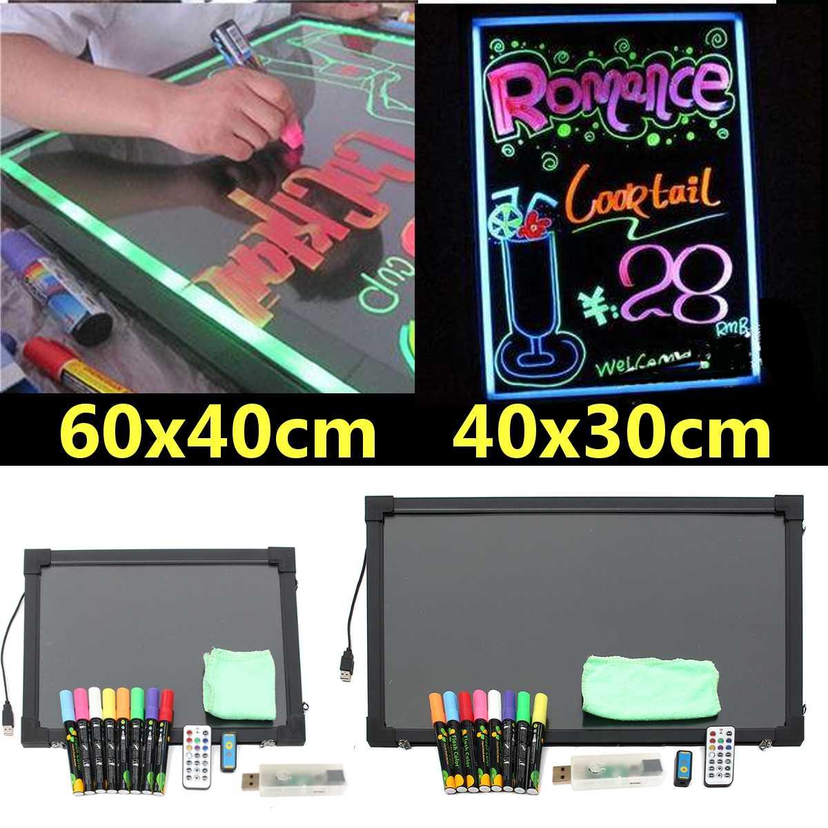Tablero de escritura LED borrable + 8 bolígrafo fluorescente LED parpadeante de neón luminoso panel de publicidad LED mensaje menú signo de escritura tablero