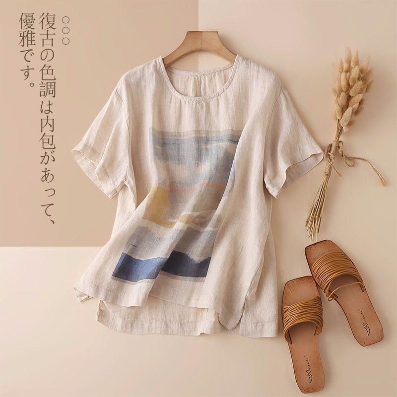 Novo estilo de artes de verão feminino manga curta solta camiseta vintage impressão algodão linho camiseta femme casual tops plus size m141