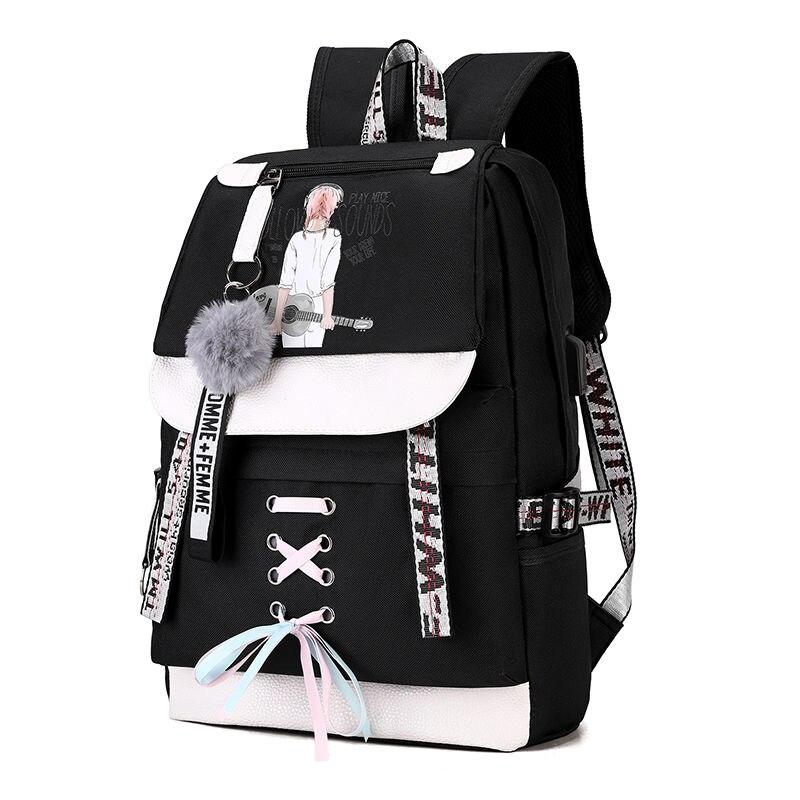 Large Green Backpacks Women School Backpack for Teenage Girls USB School Bag Canvas Middle Junior High College Student Bagpack