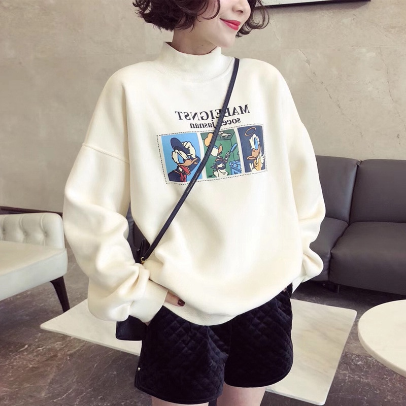 New Women's Polar Fleece Cotton Cartoon Printing Sweatershirt Women's Half High Collar Plus Fleece PaddedTop