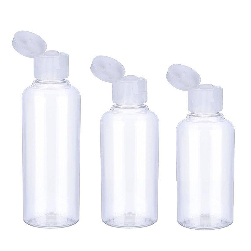 3/5/10Pcs Reise Flasche 10ml/30ml/50ml/60ml/100ml Make-Up Leere Kunststoff Flaschen Flip Kappe Für Flüssigkeit Lotion Creme