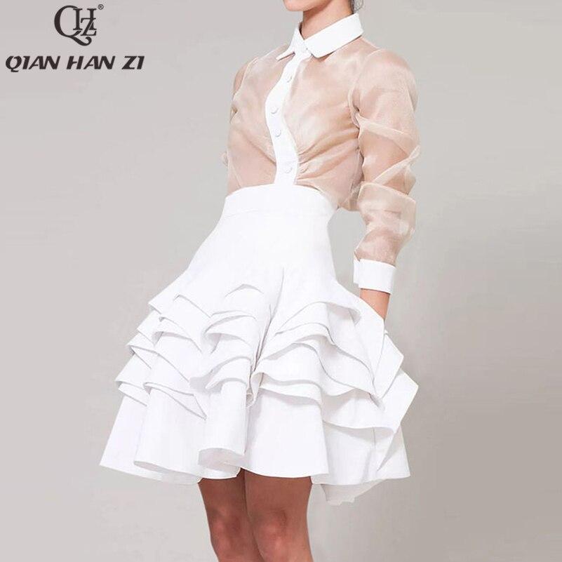 تشيان هان زي المدرج أزياء الصيف النساء 2-قطعة مجموعة الوردي طويلة الأكمام قميص والأبيض منزعج الكرة ثوب تنورة حزب دعوى مجموعة