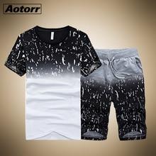 Dres męski 2020 mężczyźni odzież zestaw odzieży sportowej Fitness letni nadruk męskie spodenki + T shirt męski garnitur 2 sztuk zestawy Plus rozmiar 4XL