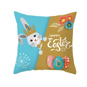 Painted Easter Rabbit Print Pillow Case Polyester Cover Home Colors Thick Linen Pillowcase Cushion Kids Bedroom 9.2