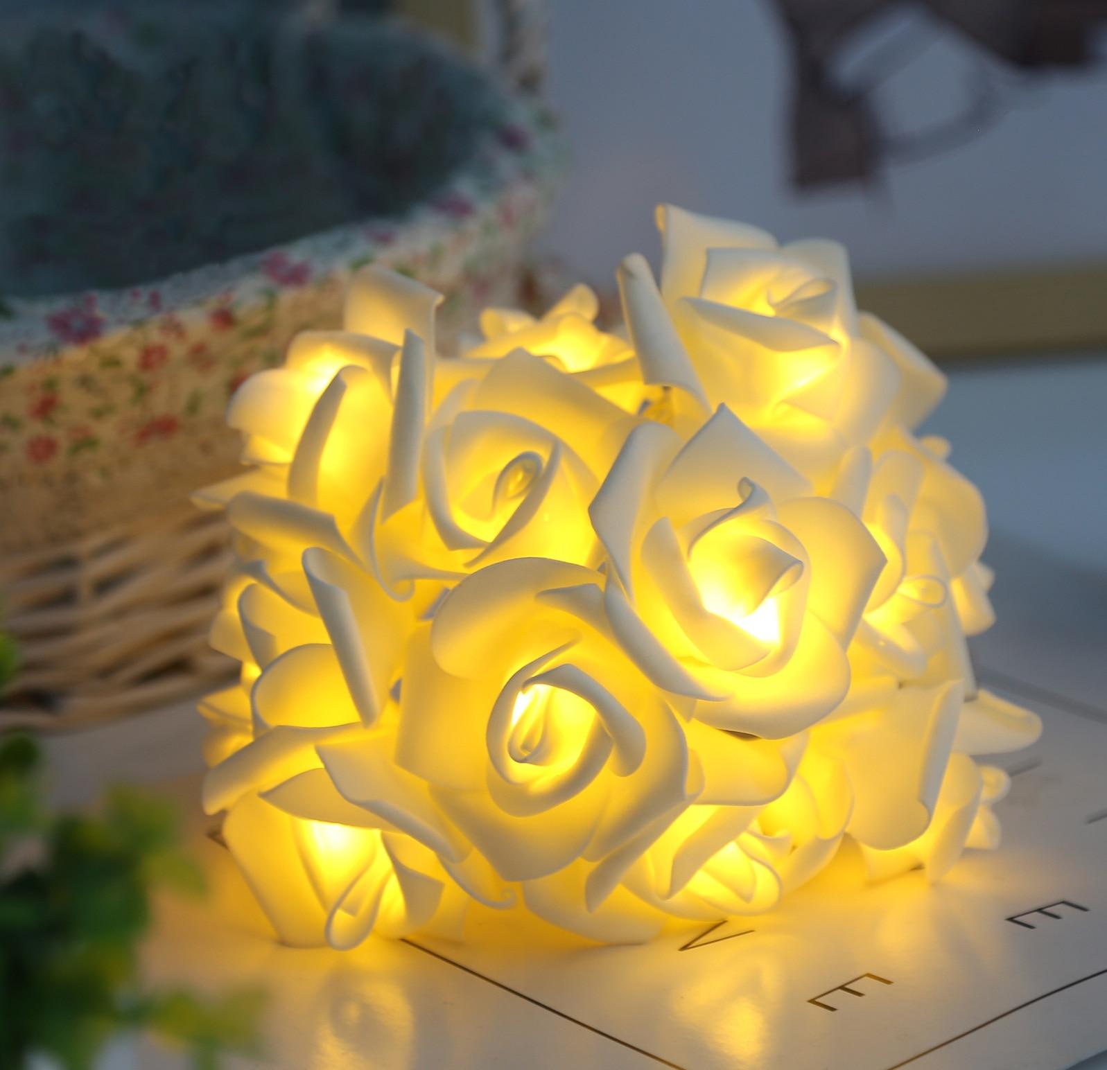 3M 5M 10M batería LED AA bola cadena luces Navidad luces interior LED Rosa flor en baterías boda Luz de decoración de Navidad