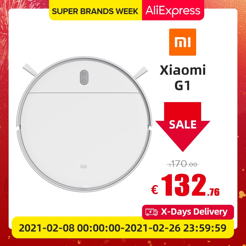 XIAOMI MIJIA Robot Vacuum Cleaner G1 for Home Wet Mopping Auto Sweeping Dust Smart Planned cyclone Suction Mop Global Version