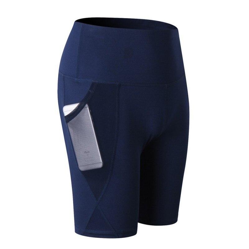Pantalones de yoga Lulú de cintura alta para mujer, con bolsillo inclinado, para correr, pantalones cortos deportivos de entrenamiento de secado rápido