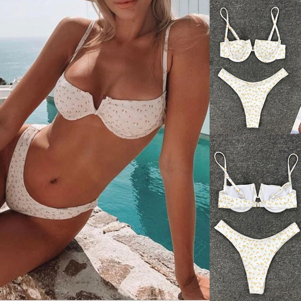 #Z45 Women Sexy Bikini Push Up Swimsuit Padded Bra Beach Wear Deep V Bikini Set Printing Swimwear Women's Swimming Suit Biquini