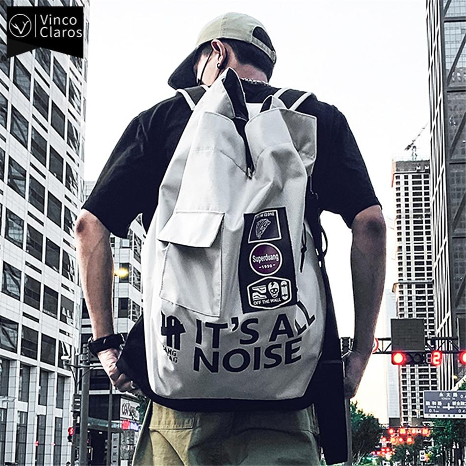 Трендовый брендовый рюкзак для мужчин, модный дизайнерский Мужской Дорожный рюкзак на шнурке, большая сумка в уличном стиле, многофункцион...