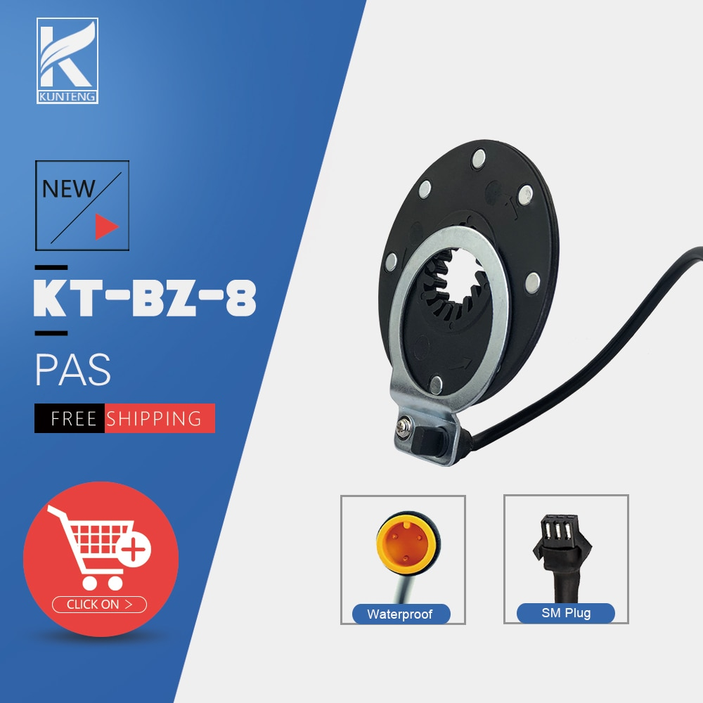 KT Electric Bicycle PAS Pedal Assistant Sensor BZ-4 8 Magnets 3 Pin SM Waterproof Plug for Electric Bike Bicycle Conversion Kit