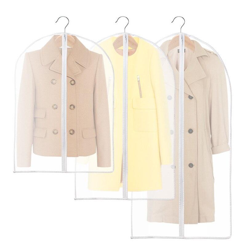 Bolsa de polvo de la ropa abrigo de Casa transparente impermeable traje manga acabado almacenamiento colgante bolsa cubierta de polvo EVA bolsas de almacenamiento
