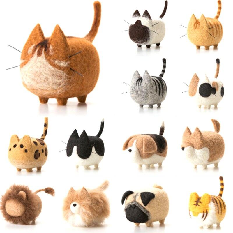 1 Juego de lana para paquete DIY de fieltro, gato, aguja de fieltro, lana de fieltro, conjunto de animales Shiba Inu