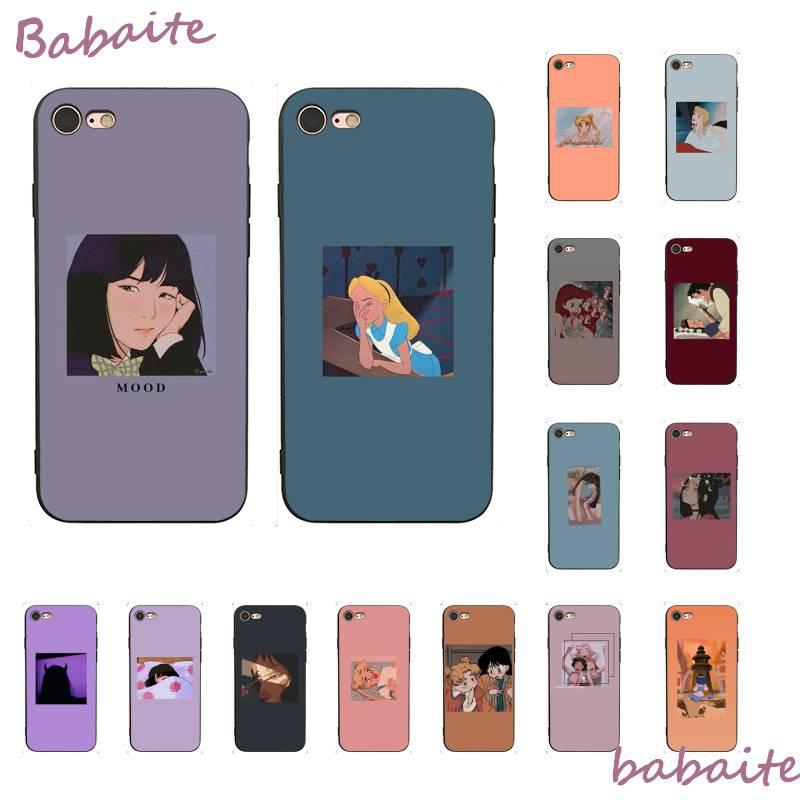 Babaite bonito estética moda anime menina diy pintado caso do telefone para o iphone 8 7 6 s plus x xs max 5 5S se xr móvel casos