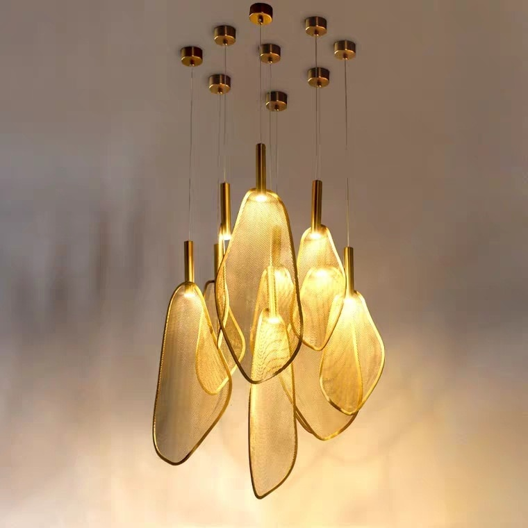 Cabeza de red de hierro sombra de luz arte candelabro pequeño poste moderno dormitorio cabecera comedor bar combinación de lámpara