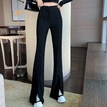 Plus Size Slit Bell-Bottom Pants Summer 2021 New Korean Style High Waist Slimming Wide Leg Pants for