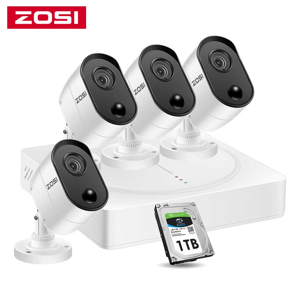 Система видеонаблюдения ZOSI, 8 каналов, 2 МП/5 МП, HD, DVR