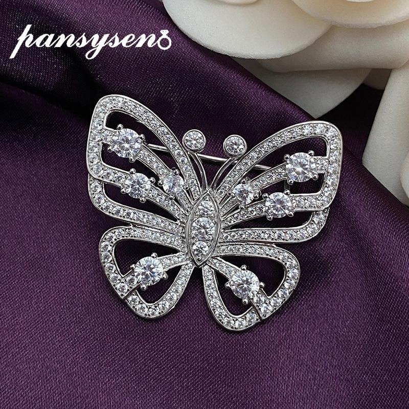 PANSYSEN 100% صلب 925 فضة مقلد مويسانيتي الماس فراشة دبابيس النساء بروش غرامة مجوهرات قطرة الشحن
