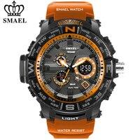 Мужские спортивные часы SMAEL, брендовые часы с двойным дисплеем, светодиодный Аналоговый Цифровой электронный кварцевые часы, водонепроница...