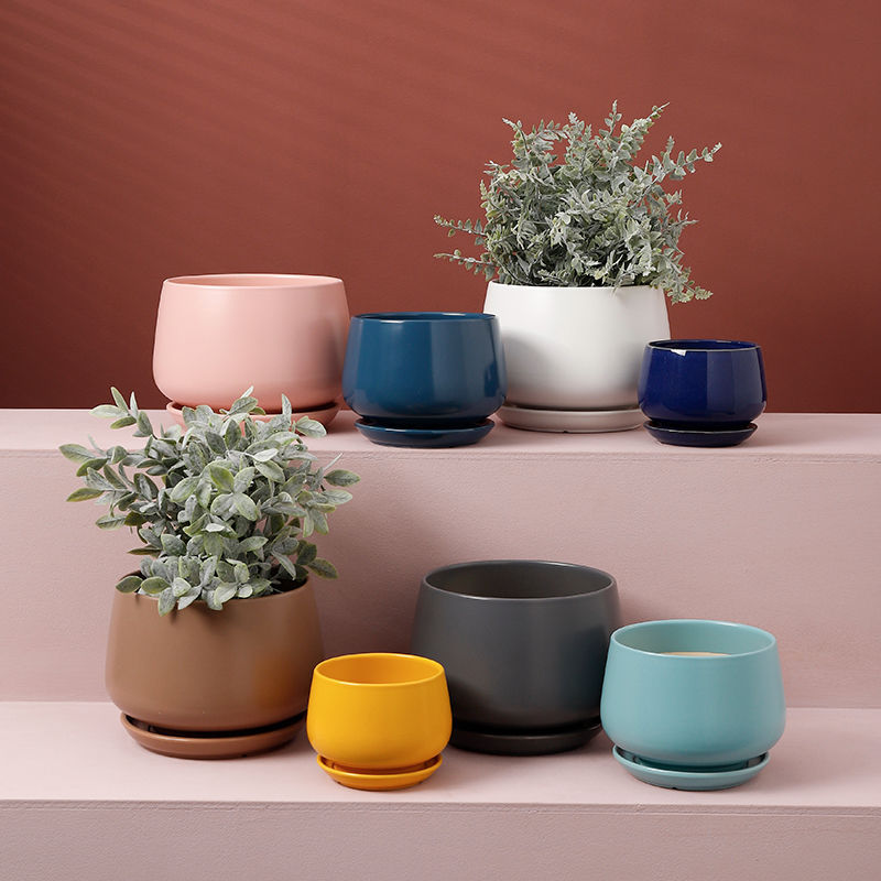 Nordic Morandi Matte Frosted Glaze Flower Pot Succulent Potted Ceramic Garden Balcony Decoration with Tray