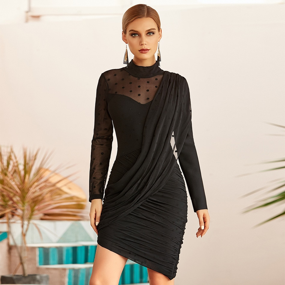 Vestido bandage ajustado de lunares de manga larga, sexi, negro, plisado, Internet,...