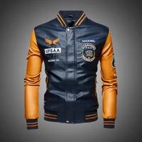 leather jacket men bomber baseball jackets biker pu coat faux pilot varsity fleece college top leather black slim fit motorcycle