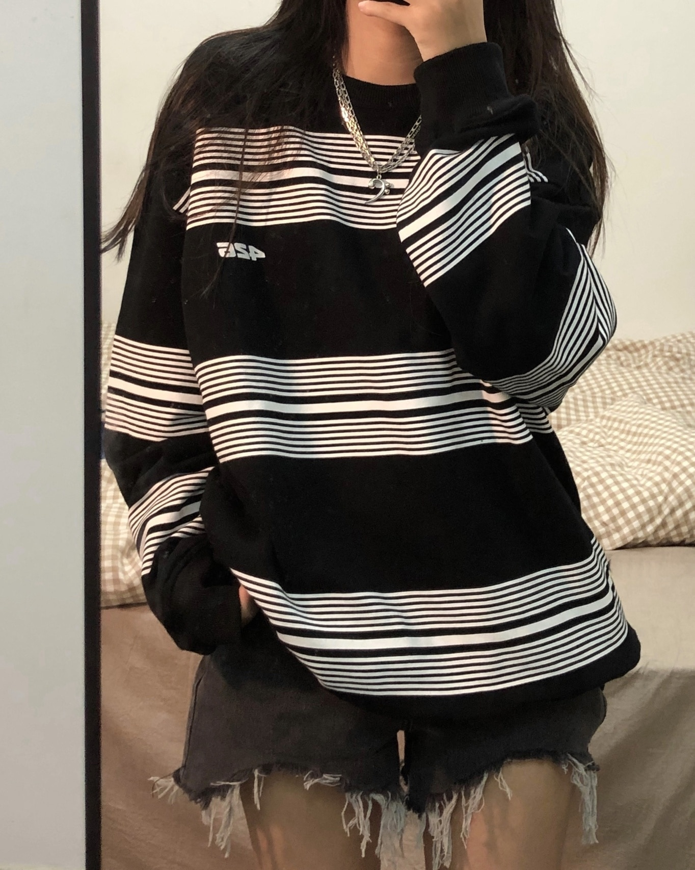 Hoodies Women's Sweater Autumn 2021 New Stripe Tide Harajuku Korean Loose Thin Black Long Sleeve Top