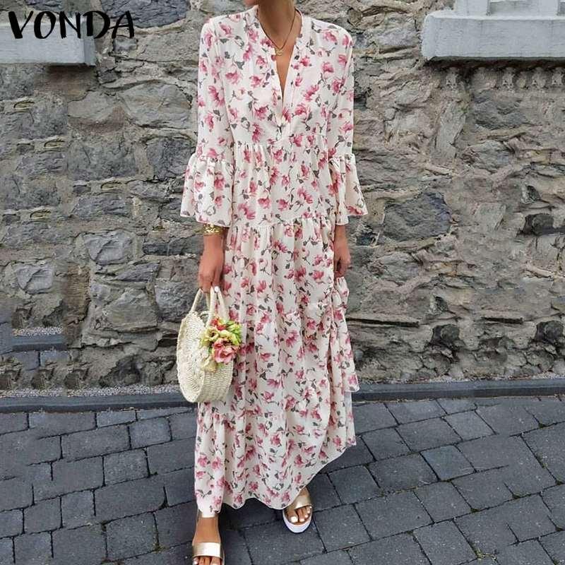 Woman Vintage Printed Maxi Dress 2020 VONDA Autumn 3/4 Sleeve V Neck Long Dresses Plus Size Bohemian Vestidos Femme Robe S-5XL