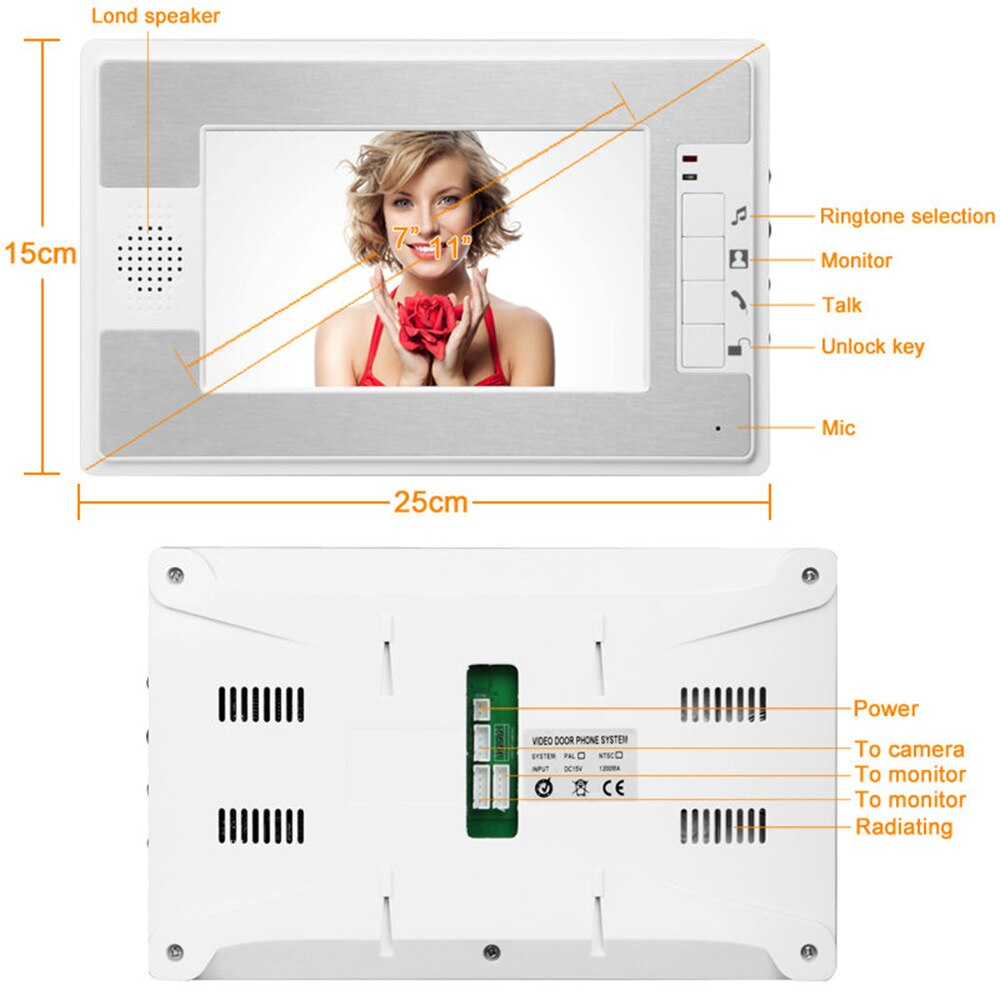 7 inch Wired Video Doorbell Smart TFT LCD Video Door Phone Visual Speakerphone IR Night Vision Camera Doorbell Intercom System enlarge