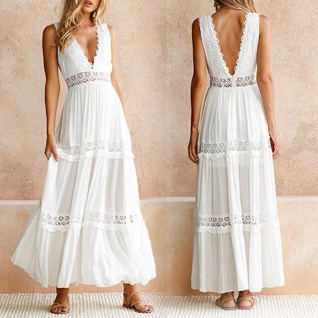 Vestido mulheres sexy profundo decote em v, de renda, branco, elegante, costas abertas, longo, vestido, roupa feminina