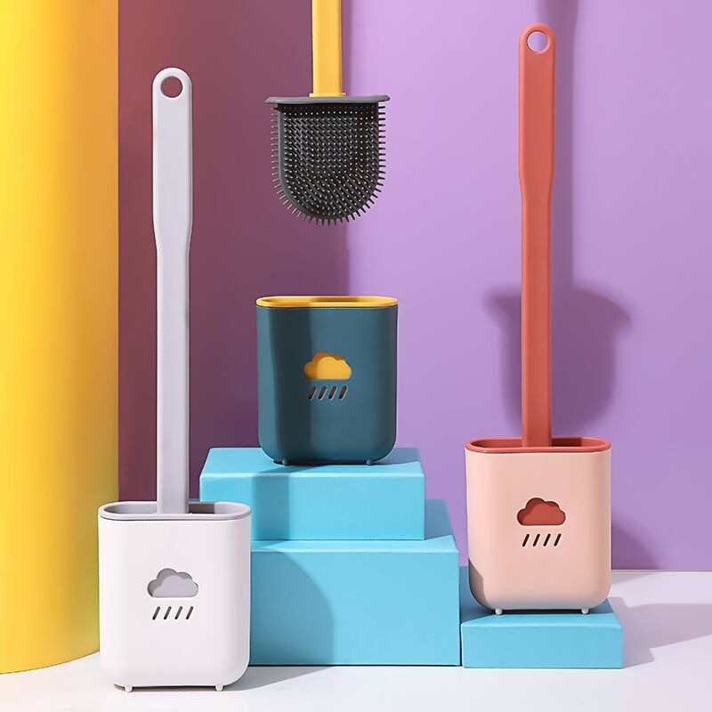 Silicone Wc Toilet Brush Flat Head Flexible Soft Bristles Brush With Quick Drying Holder Set For Bathroom Gap Cleaning Accessory