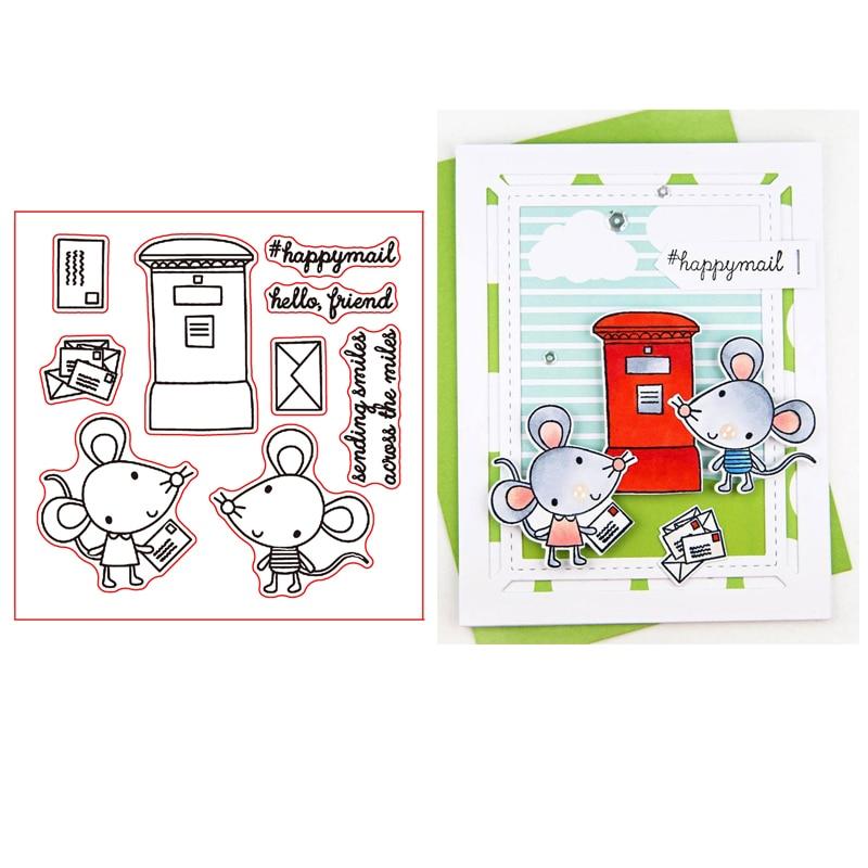 Mouse Mail, Set de sello de silicona transparente para álbum de recortes DIY/tarjetas decorativas para álbum de fotos, sellos transparentes de 4x4inch