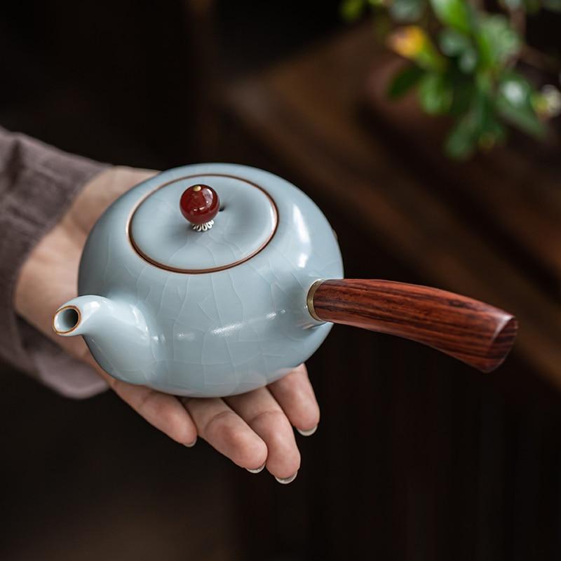 إبريق شاي من السيراميك اليدوية روياو طقم شاي سعة كبيرة الصين Kongfu براد شاي مجموعة هدايا الزفاف SZ-TP21050807