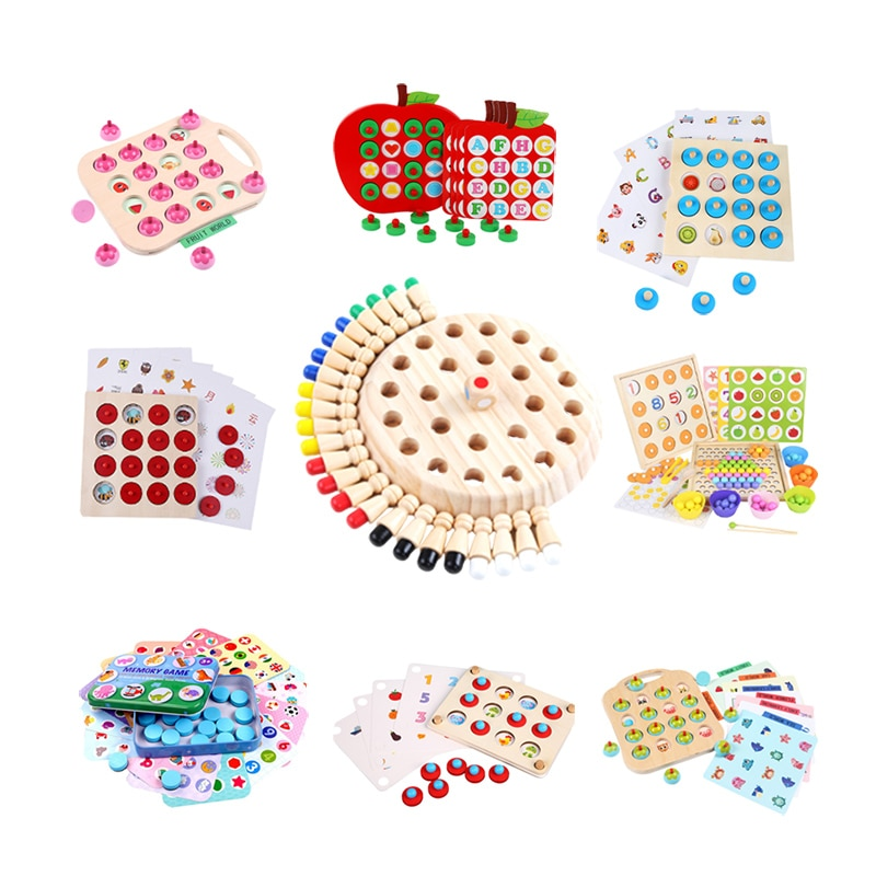 colorful cognition board kids montessori educational toy children wooden jigsaw color match game board puzzles child wooden toy Wooden Memory Chess Game Match Stick Fun Blocks Board Game Educational Toy Montessori Color Cognitive For Children Kids Party