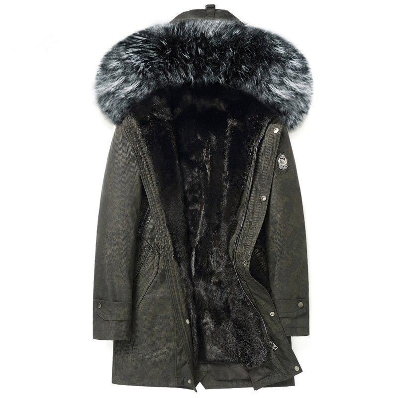 معطف شتوي حقيقي للرجال, معطف شتوي طويل بياقة من فرو الثعلب الطبيعي مع بطانة دافئة ، مقاس كبير 5xl ، موديل Y1613