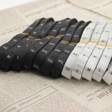 Étiquette de col pour vêtements en polyester, noir et blanc, accessoires pour vêtements, étiquette de marque pour chaussures, sac à chapeau, bricolage