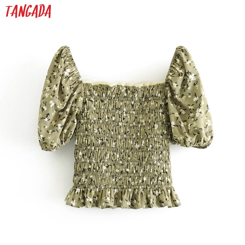 Tangada women retro green floral print crop blouse short sleeve 2020 summer chic female sexy slim shirt tops 3H411