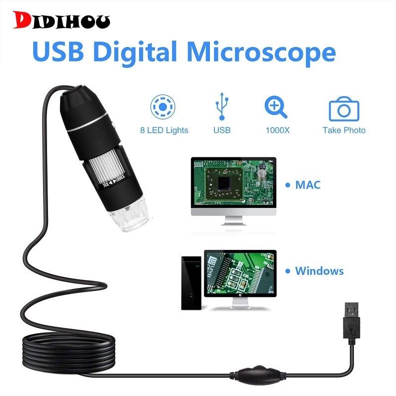DIDIHOU microscopio inteligente píxeles 500X 1000X 8 LED Digital USB microscopio lupa estéreo electrónica Cámara endoscopio USB