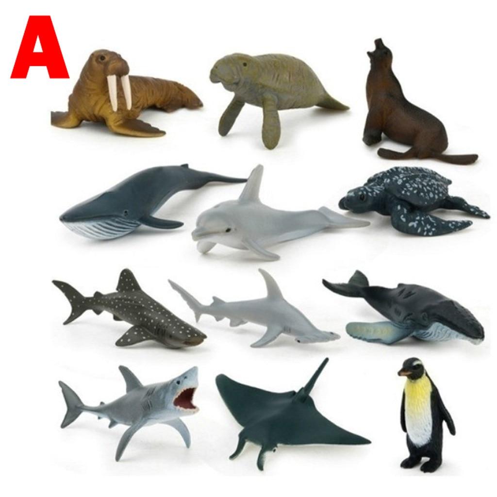 Toys For Children Sea Animal 12 Pcs Simulate Animal Toy Kids Ocean Animals Dinosaur Toys Gift Kids Toys Игрушки Для Детей