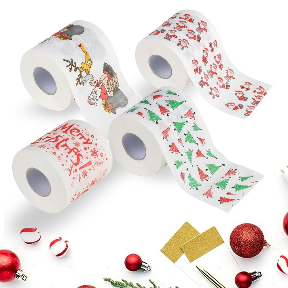 Adornos navideños para el hogar, mesa de Santa Claus, rollo de papel higiénico para baño, suministros navideños, decoración navideña, toallitas de papel de Navidad
