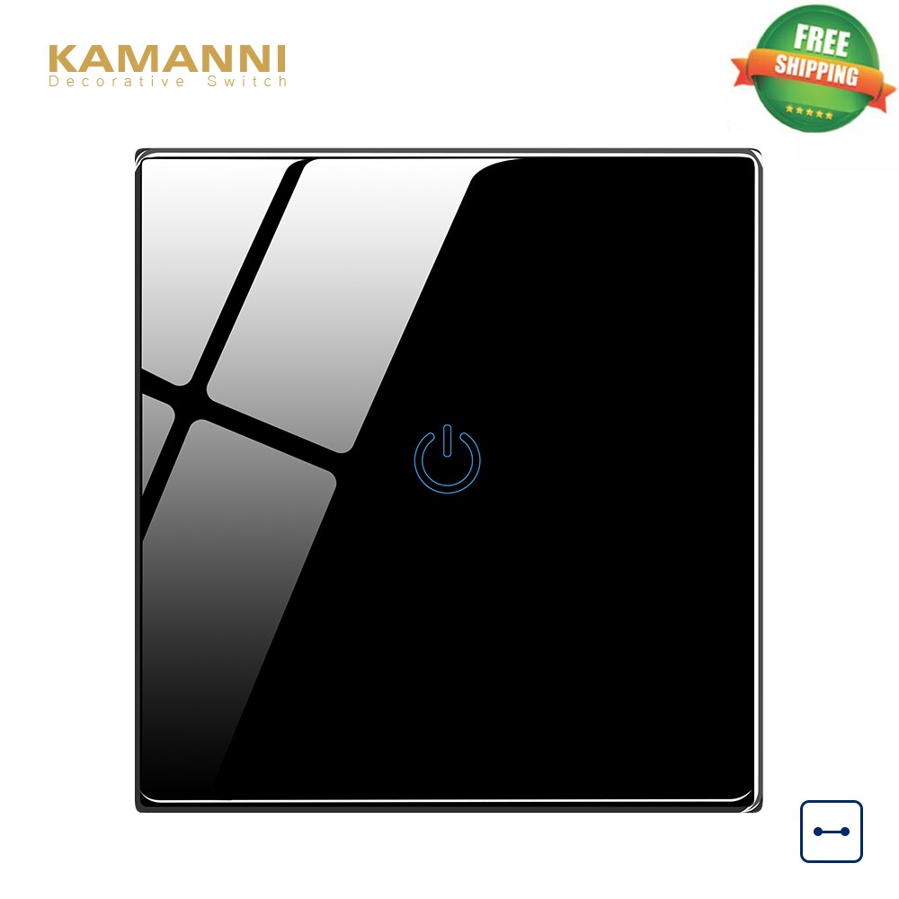 Kamanni 1 gang switch interruptores de luz de parede uk padrão 1/2/3/4 gang 1/2 vias painel vidro cristal interruptor toque 220 v parede interruptores