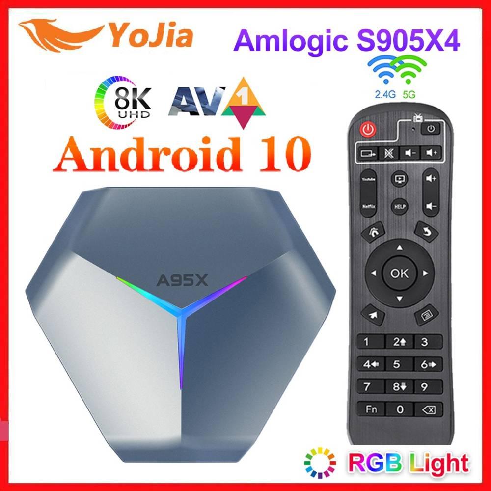 A95X F4 Amlogic S905X4 RGB ضوء مربع التلفزيون الذكية أندرويد 10 ماكس 4G 128GB المزدوج واي فاي يوتيوب 8K مشغل الوسائط أندرويد 10.0 مجموعة صندوق