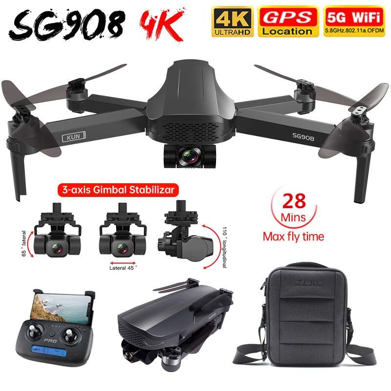 Inteligente SG908 RC GPS Drone de 3 ejes cardán 4K Cámara 5G...