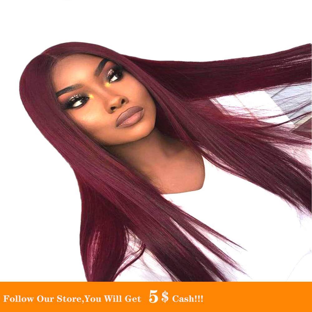 Pelucas sintéticas de seda de 13x4 de largo liso Natural 99J para mujeres blancas y negras, pelo de Cosplay de fibra resistente al calor de tamaño pequeño