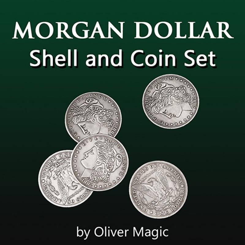 Morgan Dollar Shell and Coin Set (5 монет + 1 головная оболочка + 1 Хвостовая оболочка) от Оливера Волшебная монета Волшебные трюки иллюзии крупным планом веселья